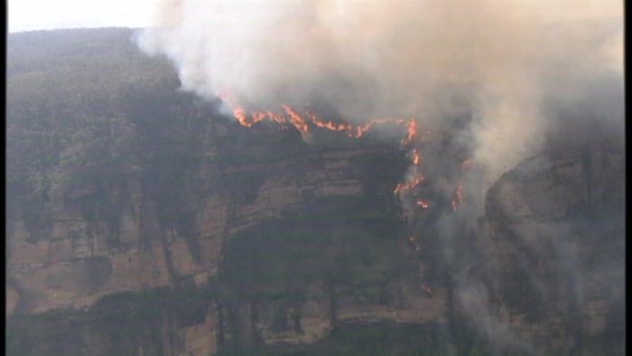 Wind fans ferocious flames in the Blue Mountains.