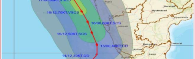 केरल में चक्रवातीय वर्षा से बाढ़ की संभावना
